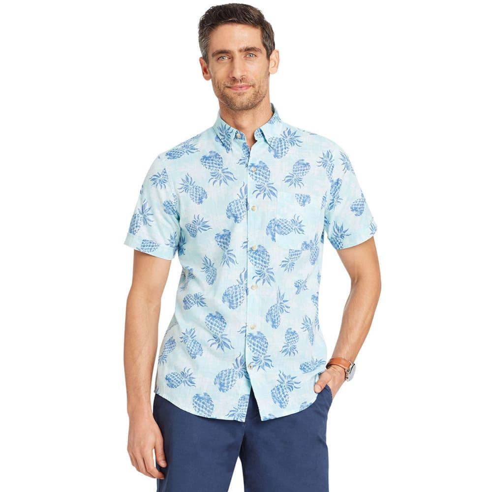 IZOD Men's Dockside Chambray Pinapple Woven Shirt L
