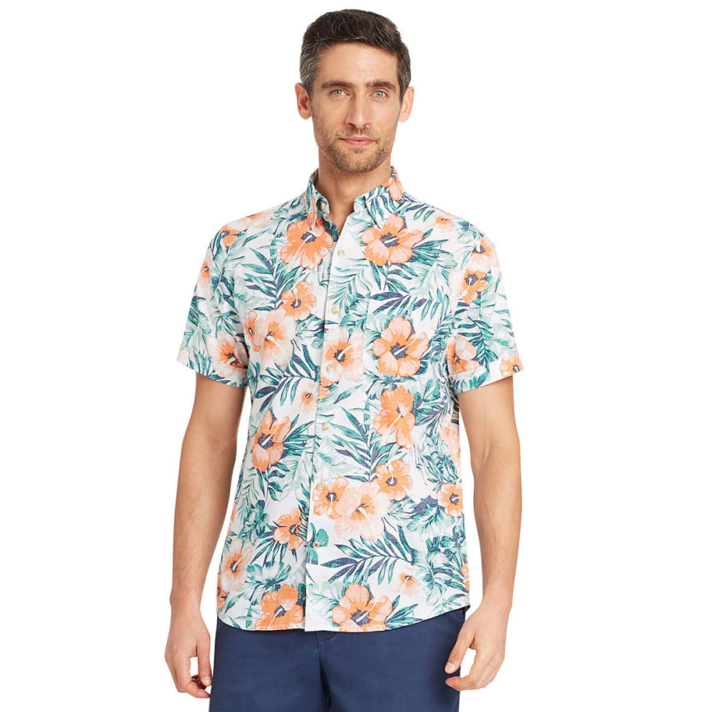 IZOD Men's Saltwater Dockside Hibiscus Chambray Short-Sleeve Shirt M