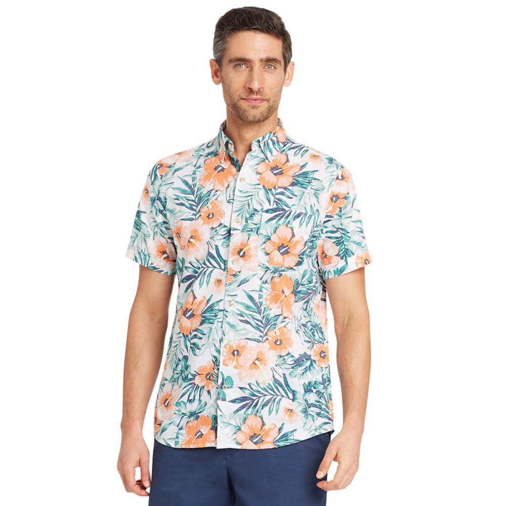 IZOD Men's Saltwater Dockside Hibiscus Chambray Short-Sleeve Shirt - BRIGHT WHITE-116