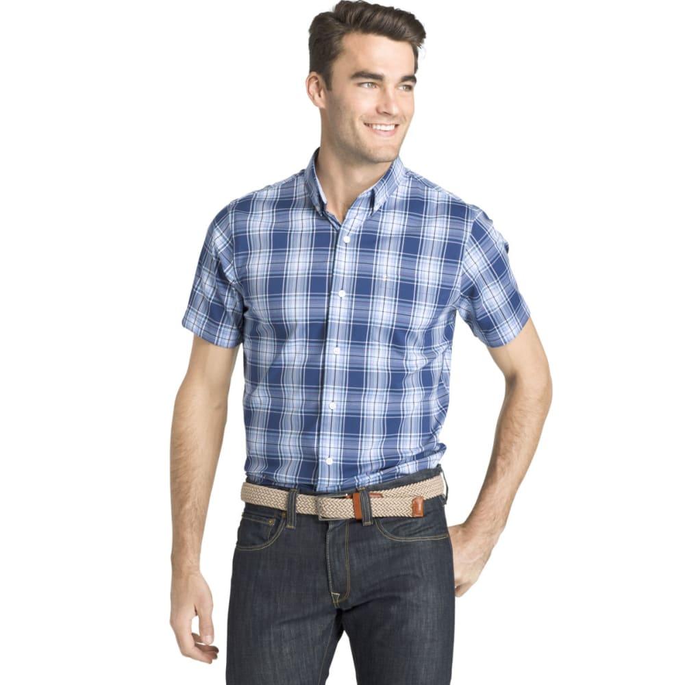 IZOD Men's Breeze Plaid Poly Poplin Short-Sleeve Shirt - ESTATE BLUE-435