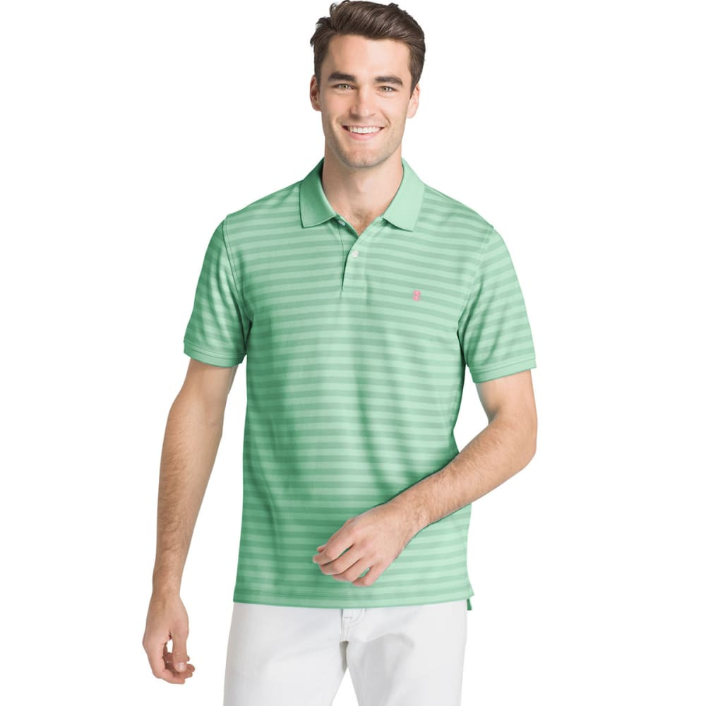 Izod Men's Sportflex Feeder Stripe Short-Sleeve Polo Shirt - Green, M