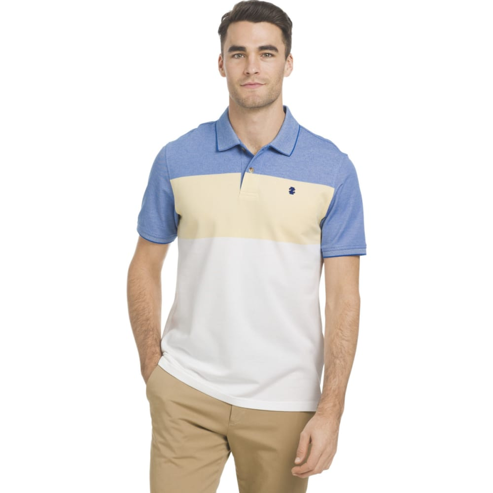 IZOD Men's Advantage Performance Tri-Colorblock Stripe Short-Sleeve Polo Shirt - SUNDRESS-727