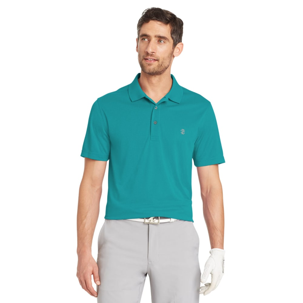 IZOD Men's Champion Grid Performance Golf Short-Sleeve Polo Shirt - GULF STREAM-446