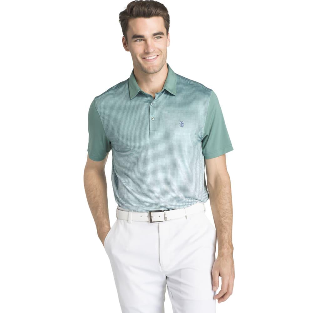 Izod Men's Gingham Printed Performance Golf Short-Sleeve Polo Shirt - Blue, L