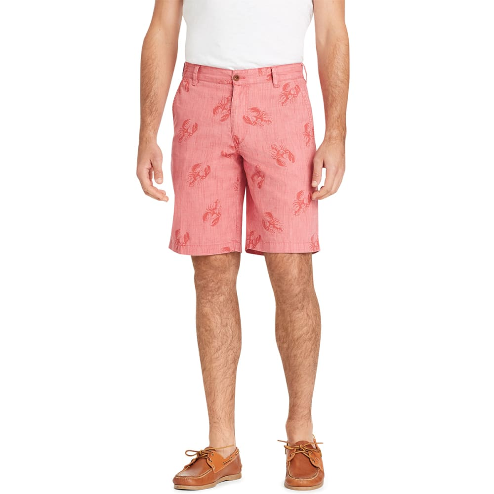 IZOD Men's Dockside Tonal Lobster Print Flat-Front Shorts - SALTWATER RED-648