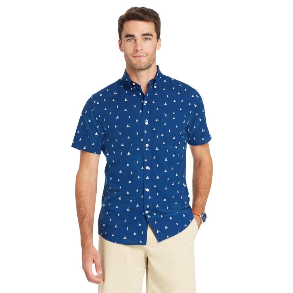 Izod Men's Breeze Printed Poly Poplin Short-Sleeve Shirt - Blue, XL