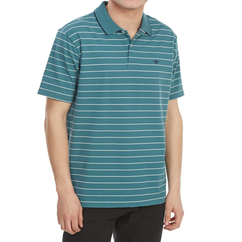 DOCKERS Men's Performance Stripe Short-Sleeve Polo Shirt - HARBOR BLUE-0048