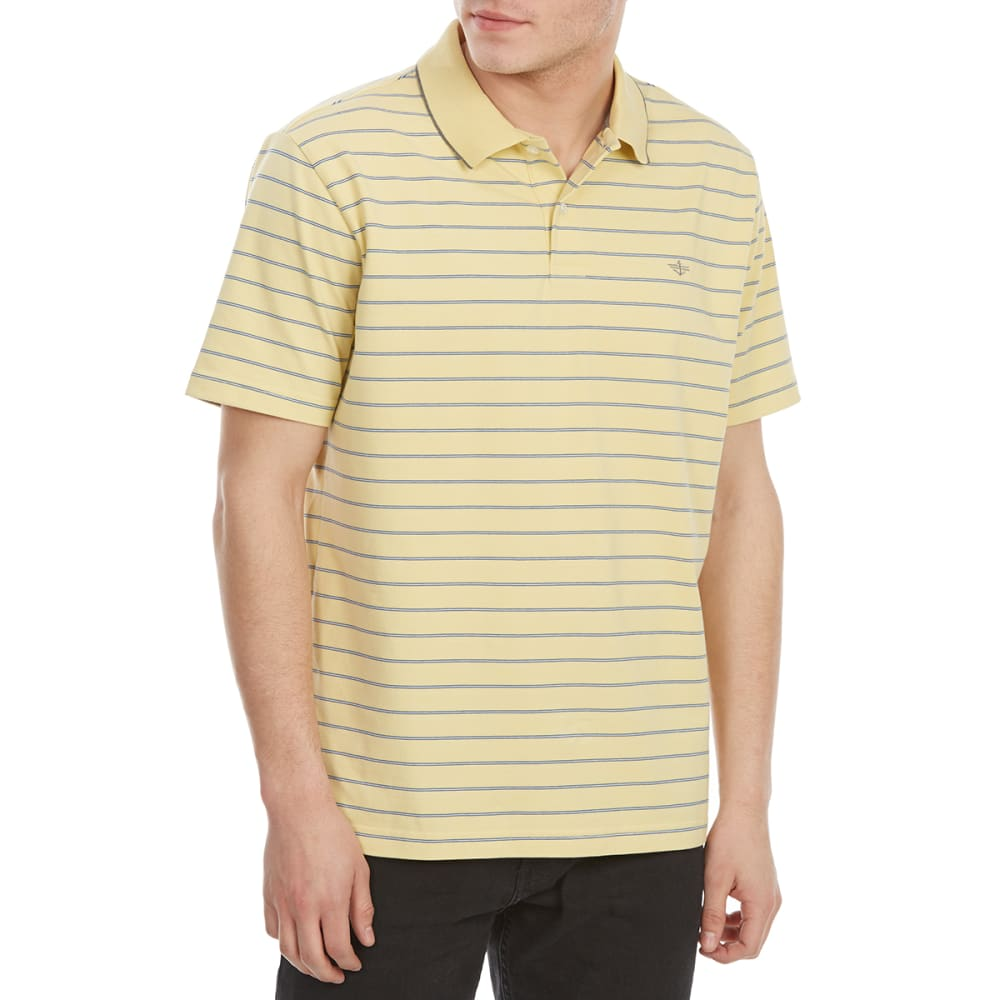 Dockers Men's Performance Stripe Short-Sleeve Polo Shirt - Yellow, M
