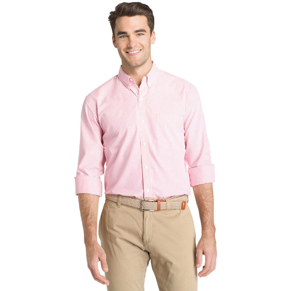 IZOD Men's Essential Stripe Long-Sleeve Shirt - RAPTURE ROSE-697