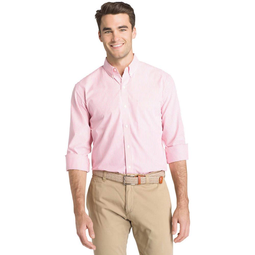 Izod Men's Essential Stripe Long-Sleeve Shirt - Red, XL