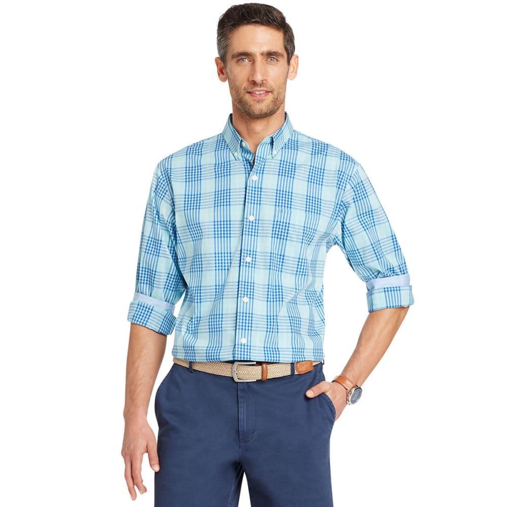 Izod Men's Essential Plaid Long-Sleeve Shirt - Black, M
