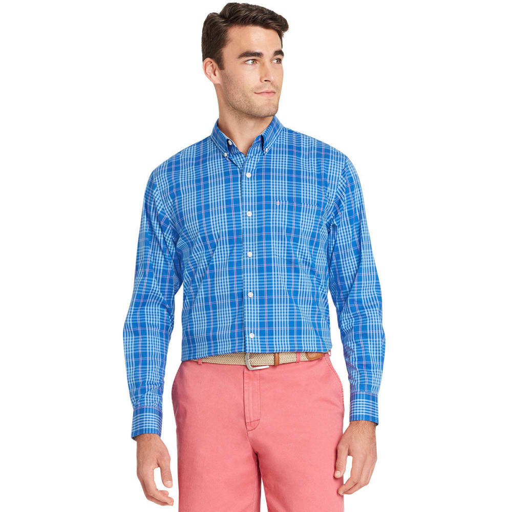 IZOD Men's Essential Plaid Long-Sleeve Shirt - OLYMPIAN BLUE-460