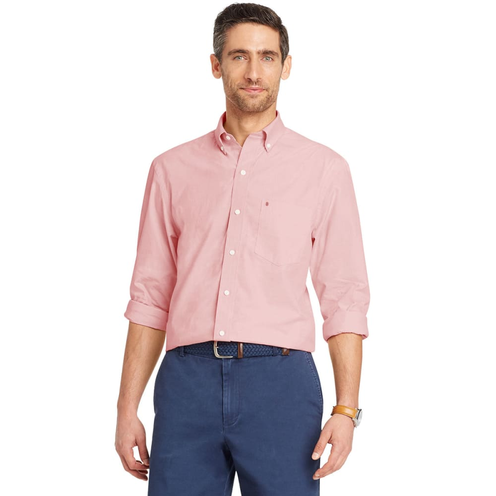 Izod Men's Essential Peached Poplin Long-Sleeve Shirt - Red, M