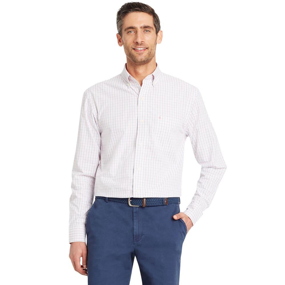Izod Men's Essential Tattersall Long-Sleeve Shirt - Red, M
