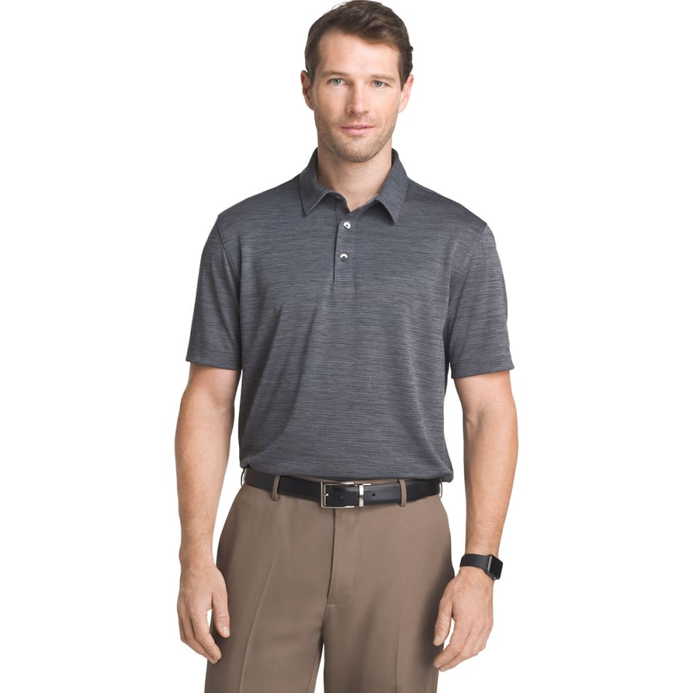 VAN HEUSEN Men's Air Space-Dye Short-Sleeve Polo Shirt - BLACK-001