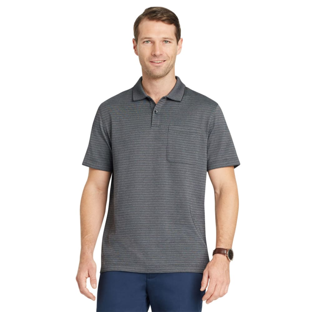 VAN HEUSEN Men's Flex Jacquard Stripe Short-Sleeve Polo Shirt - BLACK-001