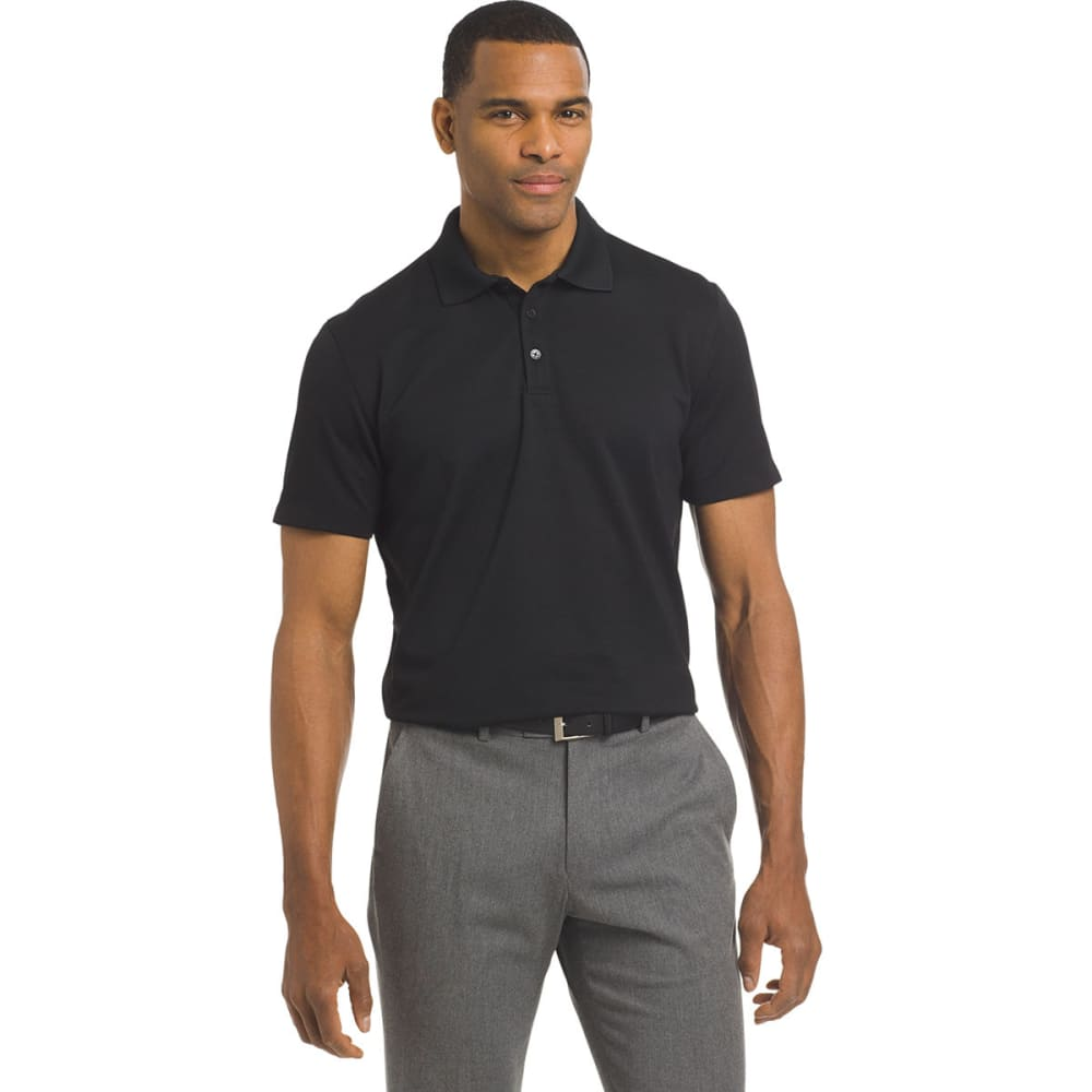 VAN HEUSEN Men's Air Ottoman Short-Sleeve Polo Shirt - BLACK-001