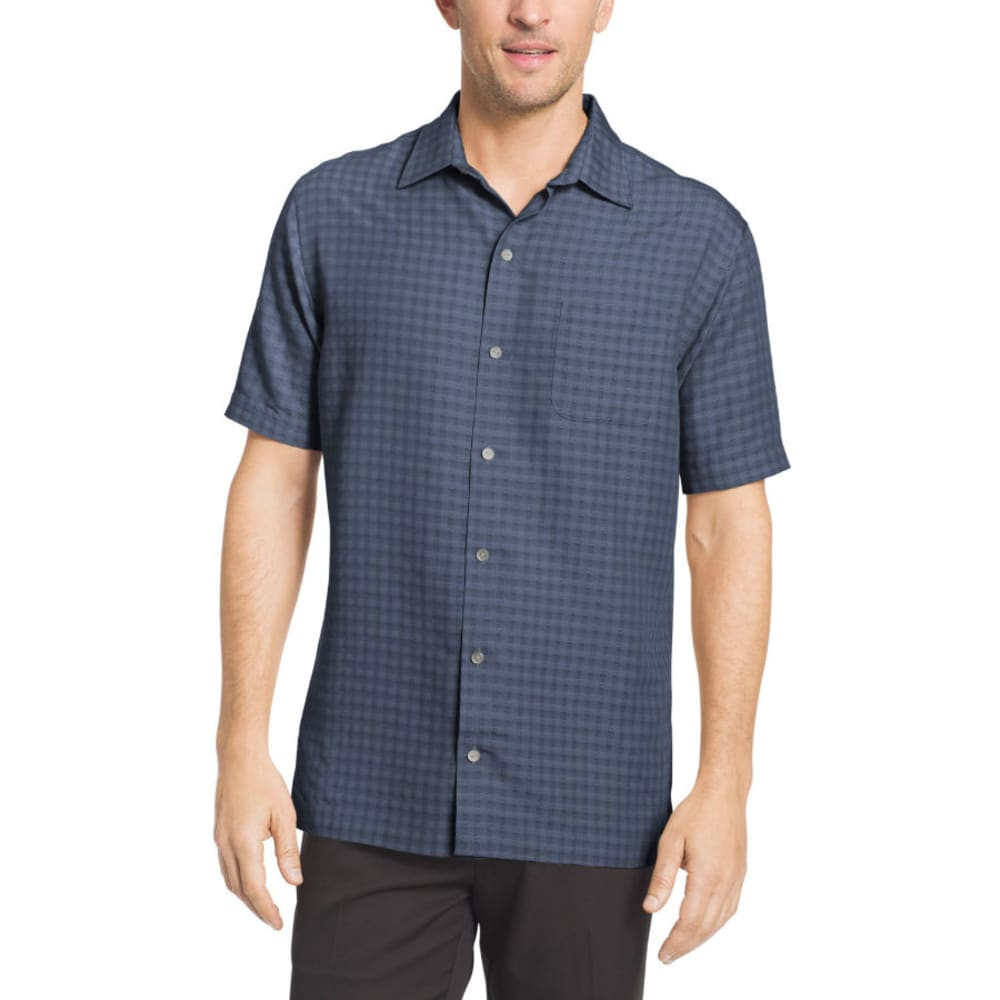 VAN HEUSEN Men's Grid Short-Sleeve Shirt L
