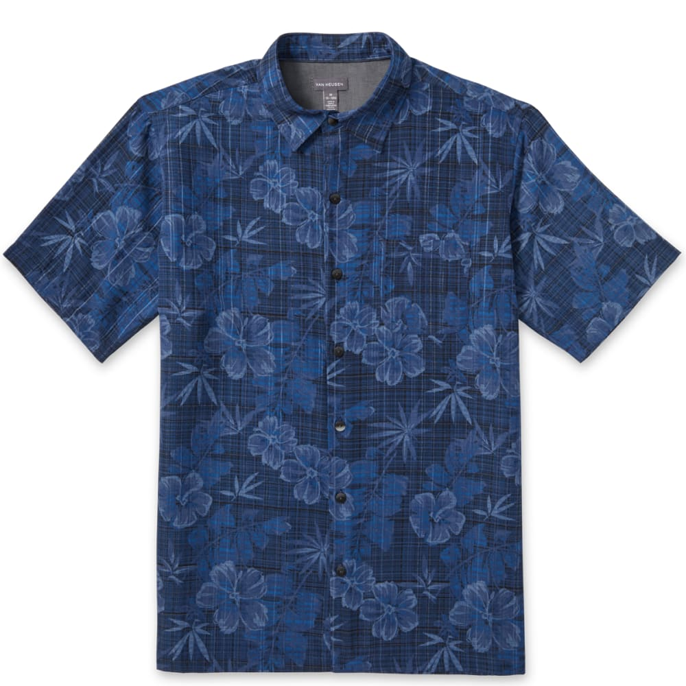 VAN HEUSEN Men's Air Poly Print Woven Short-Sleeve Shirt - BLUE BLACK IRIS-489