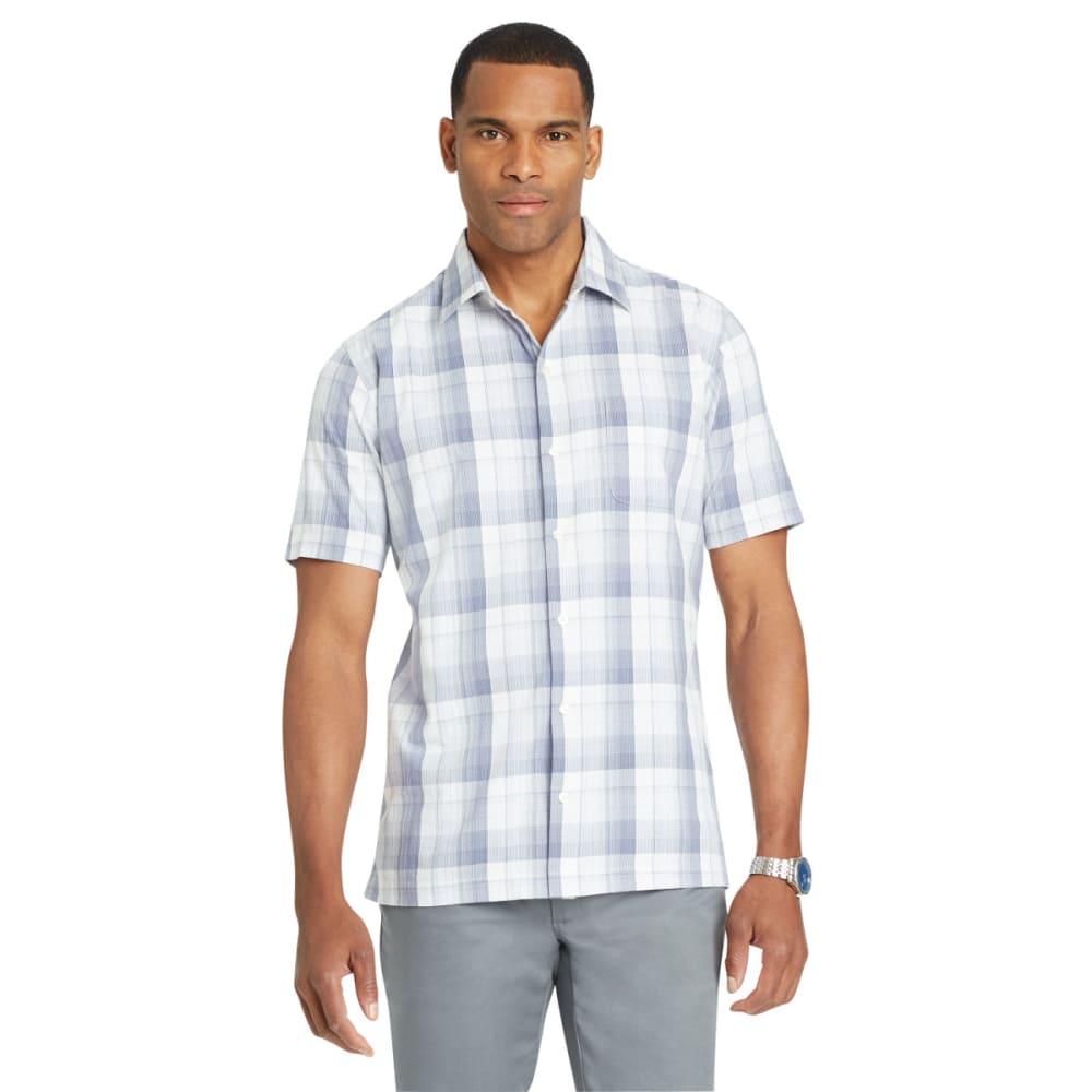 VAN HEUSEN Men's Air Textured Plaid Short-Sleeve Shirt - BLUE JEANS-497