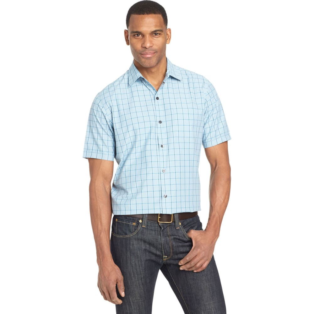 Van Heusen Men's Air Plaid Short-Sleeve Shirt - Blue, XL