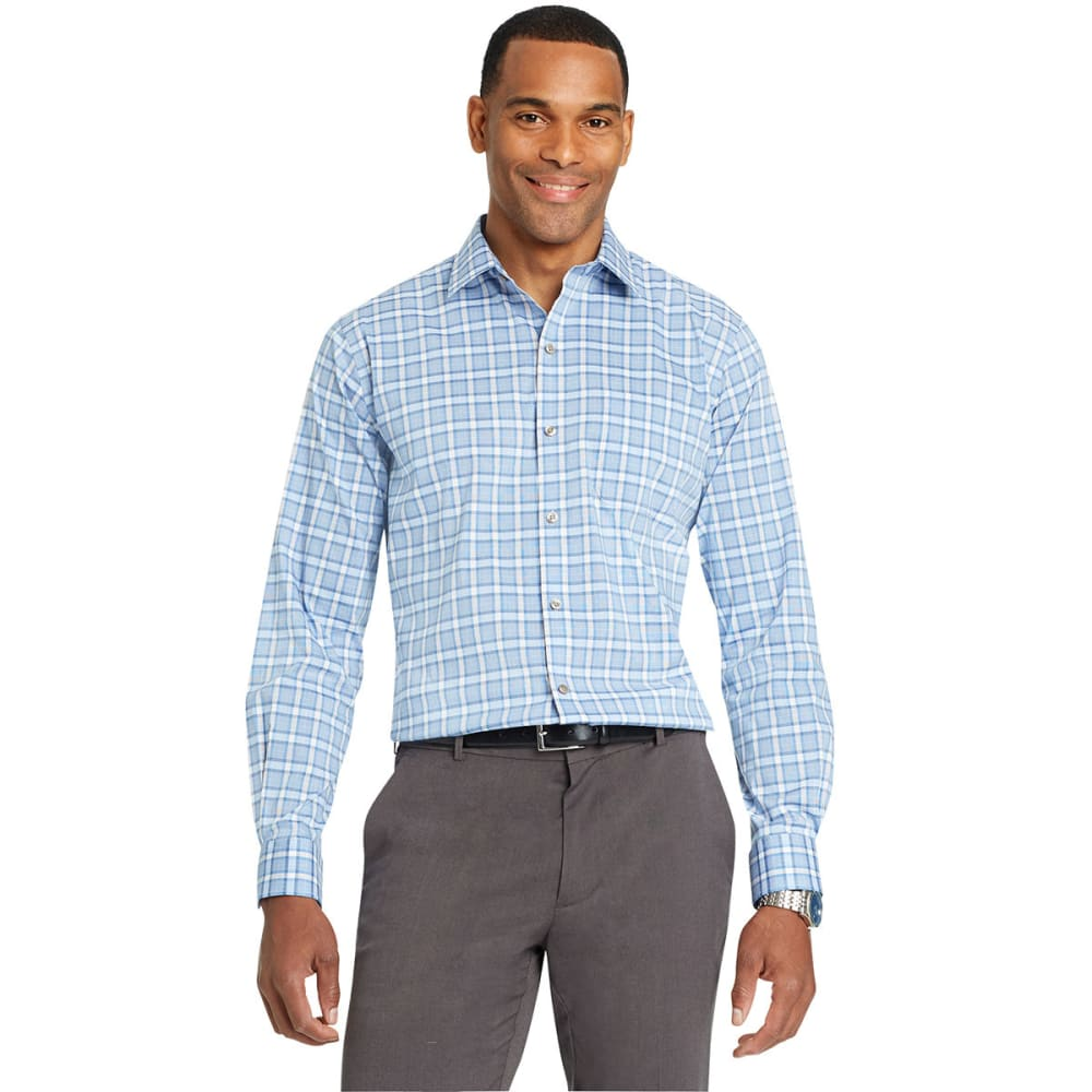 Van Heusen Men's Traveler Woven Long-Sleeve Shirt - Blue, M