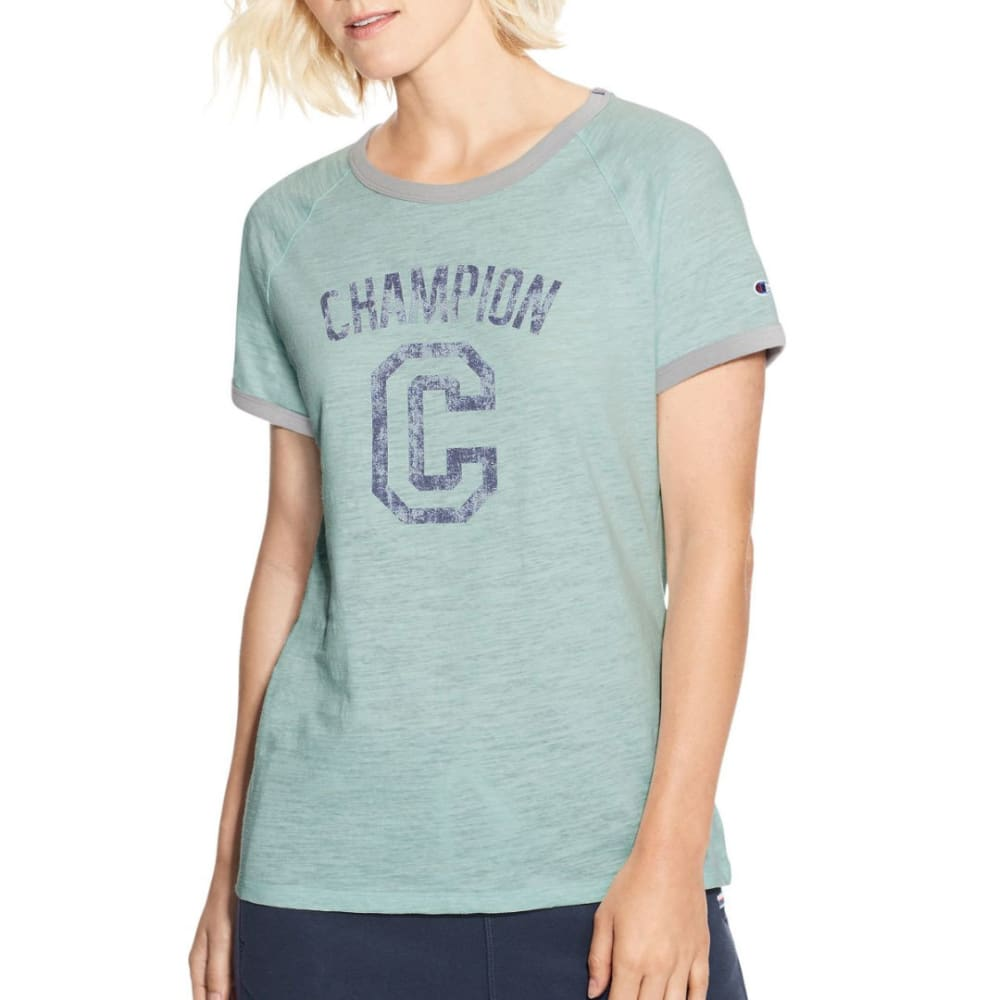 Champion Women's Heritage Ringer Big Logo Short-Sleeve Tee - Blue, S