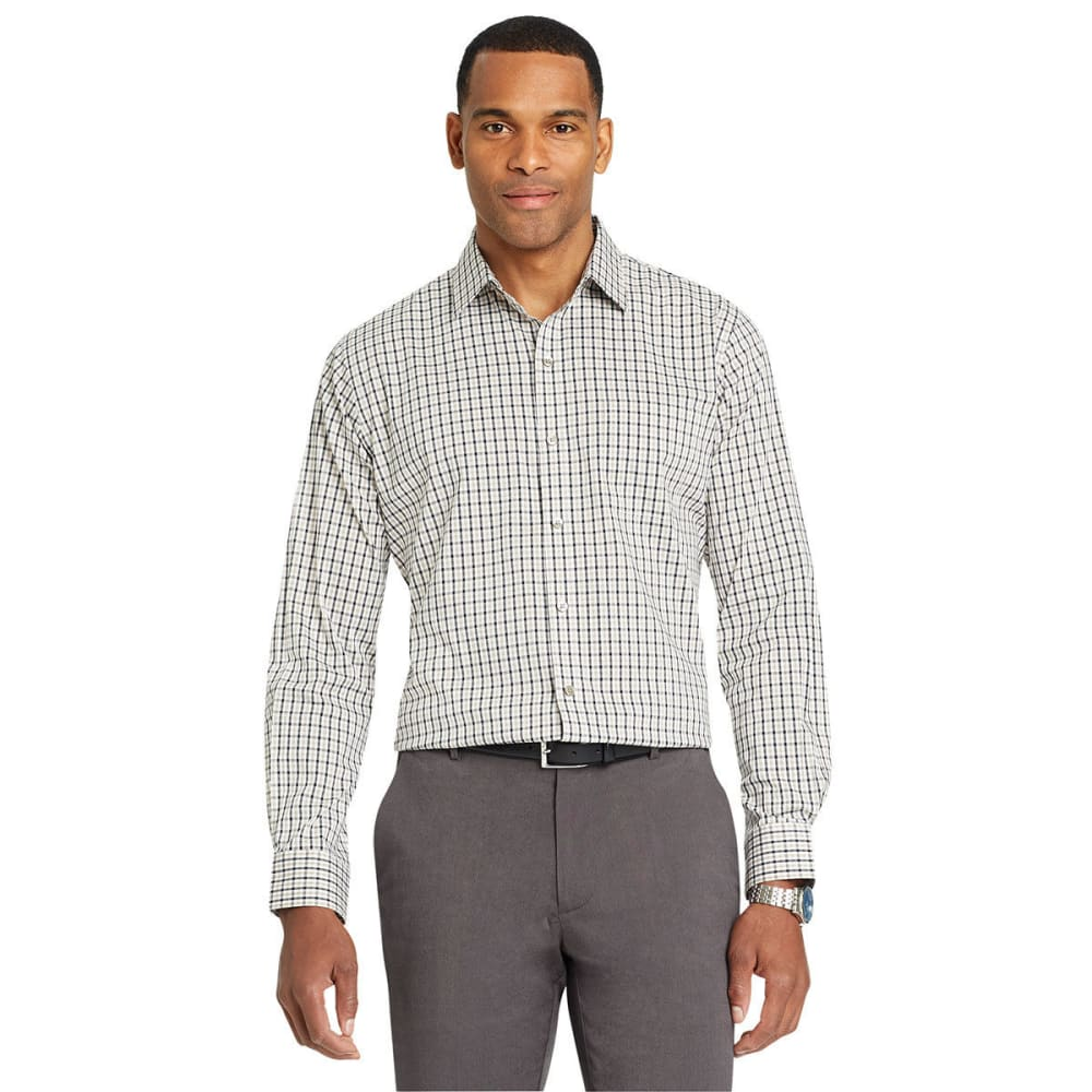 Van Heusen Men's Traveler Tattersall Woven Long-Sleeve Shirt - Brown, M
