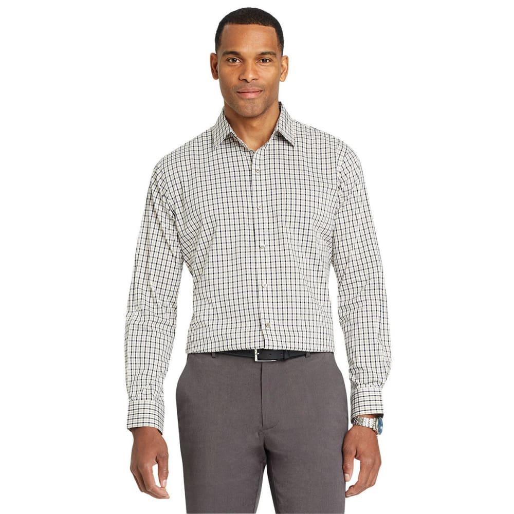 Van Heusen Men's Traveler Tattersall Woven Long-Sleeve Shirt - Brown, XXL
