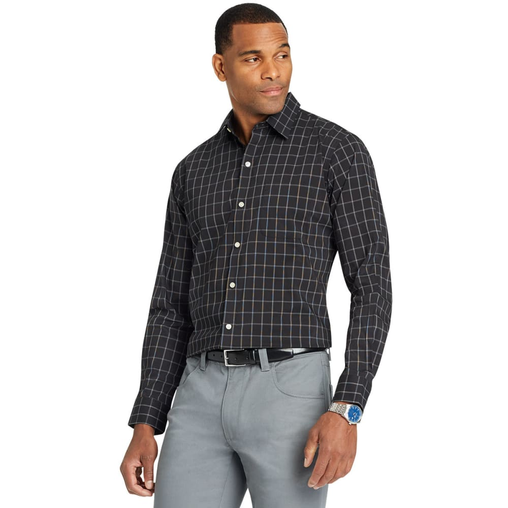 Van Heusen Men's Traveler Windowpane Woven Long-Sleeve Shirt - Black, M