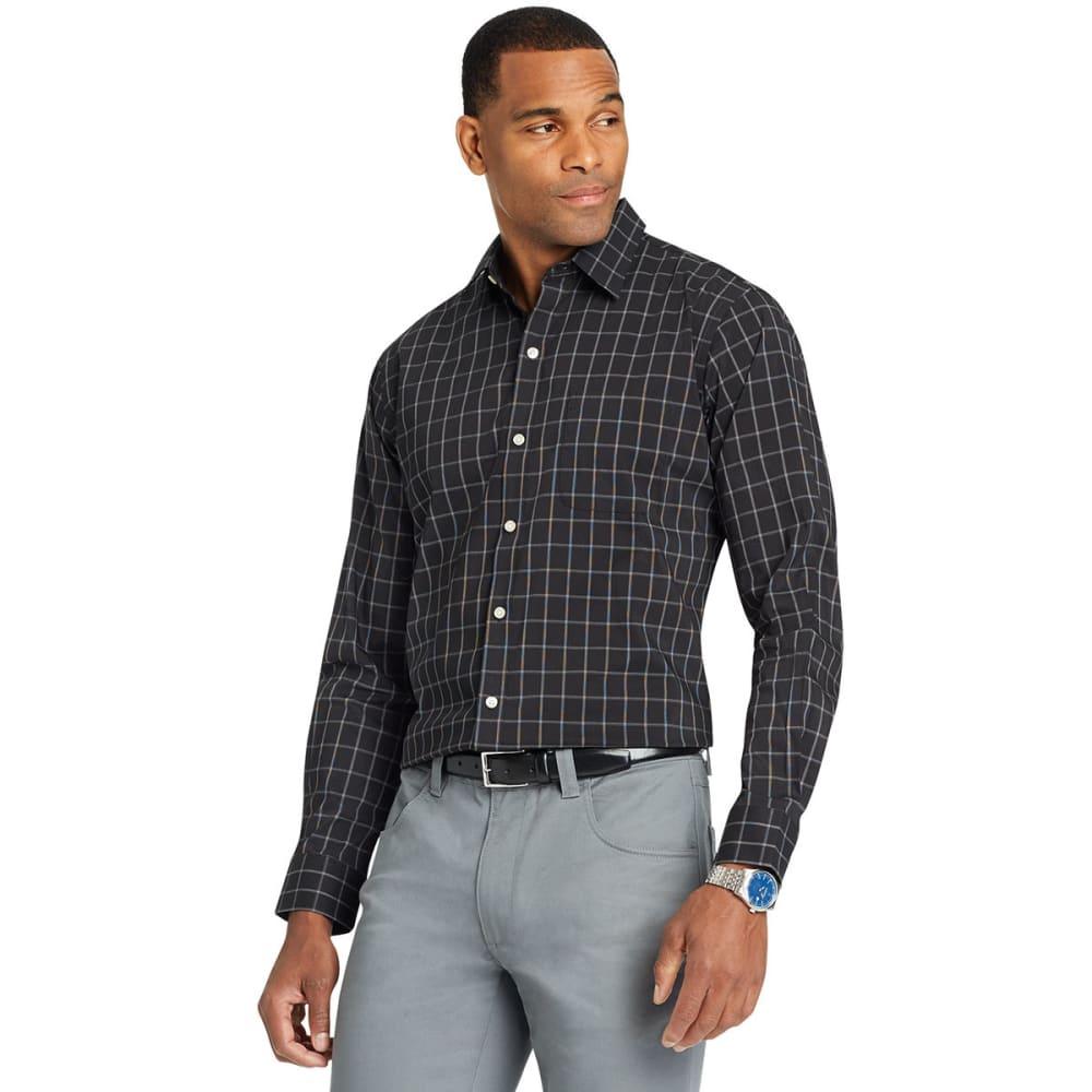 Van Heusen Men's Traveler Windowpane Woven Long-Sleeve Shirt - Black, XL