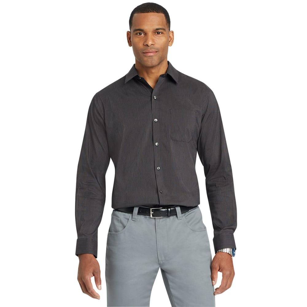Van Heusen Men's Traveler Thin Stripe Woven Long-Sleeve Shirt - Black, L