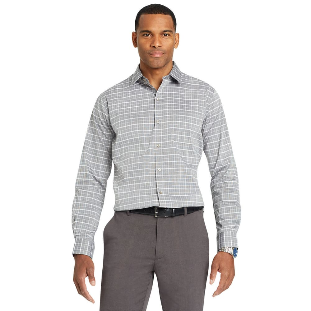 Van Heusen Men's Traveler Plaid Woven Long-Sleeve Shirt - Black, M