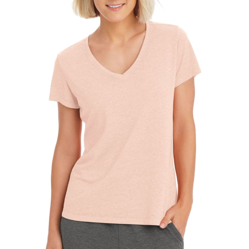 CHAMPION Women's Authentic Wash V-Neck Short-Sleeve Tee - PALE BLUSH PINK-G7S