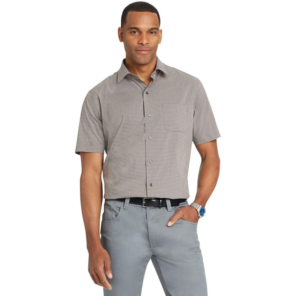 VAN HEUSEN Men's Flex Small Check Short-Sleeve Shirt - GREY PHANTOM-062