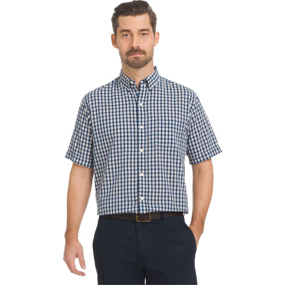 Arrow Men's Seersucker Small Plaid Woven Short-Sleeve Shirt - Blue, M