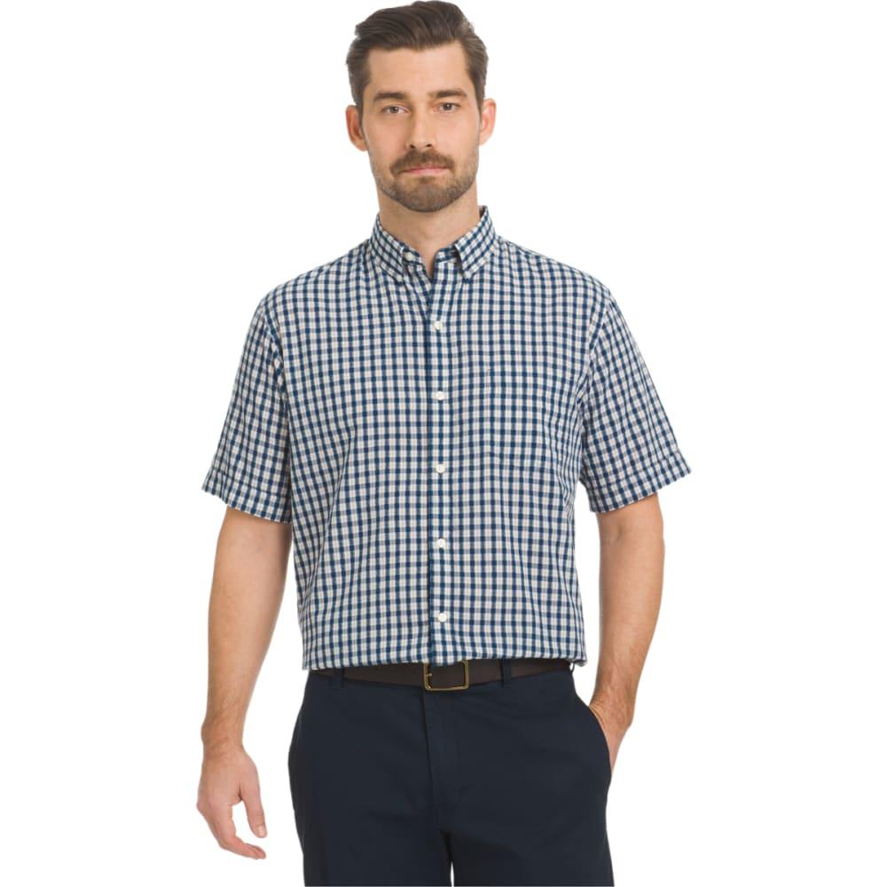ARROW Men's Seersucker Small Plaid Woven Short-Sleeve Shirt - DK SLATE BLUE-498