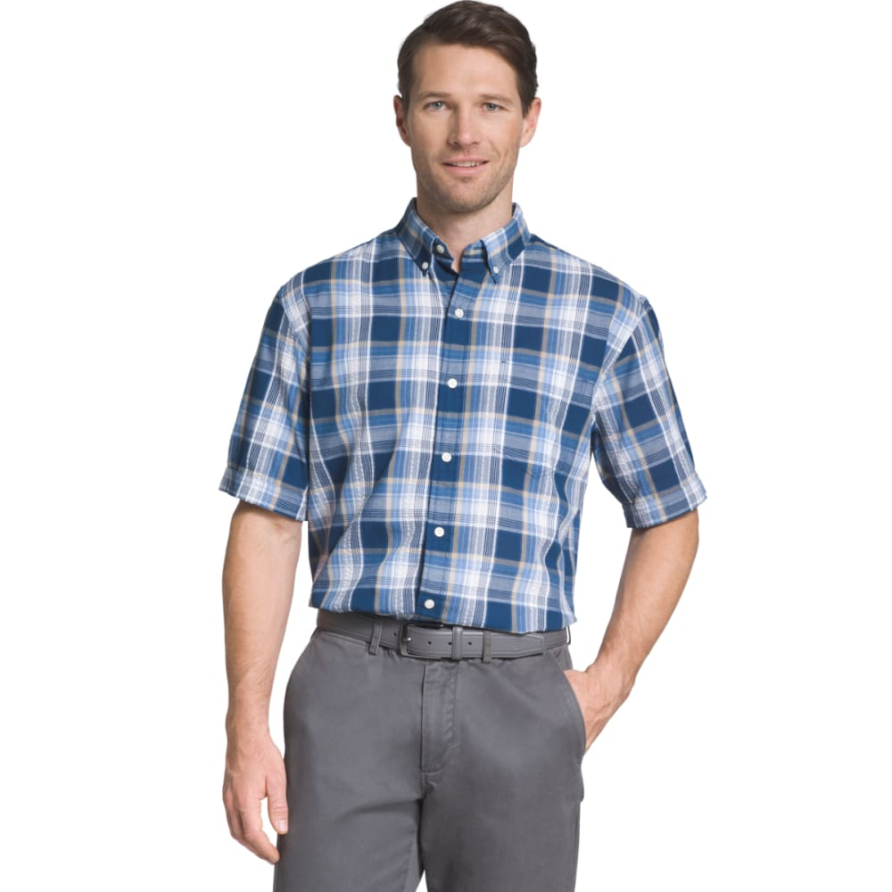 Arrow Men's Seersucker Large Plaid Woven Short-Sleeve Shirt - Blue, M