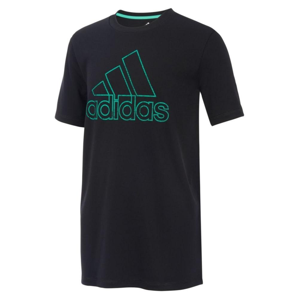 Adidas Big Boys' Pattern Fill Logo Short-Sleeve Tee - Black, S