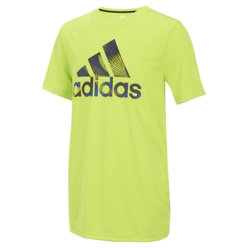 ADIDAS Big Boys' Pattern Fill Logo Short-Sleeve Tee - SEMI SOLAR YLW-AY03