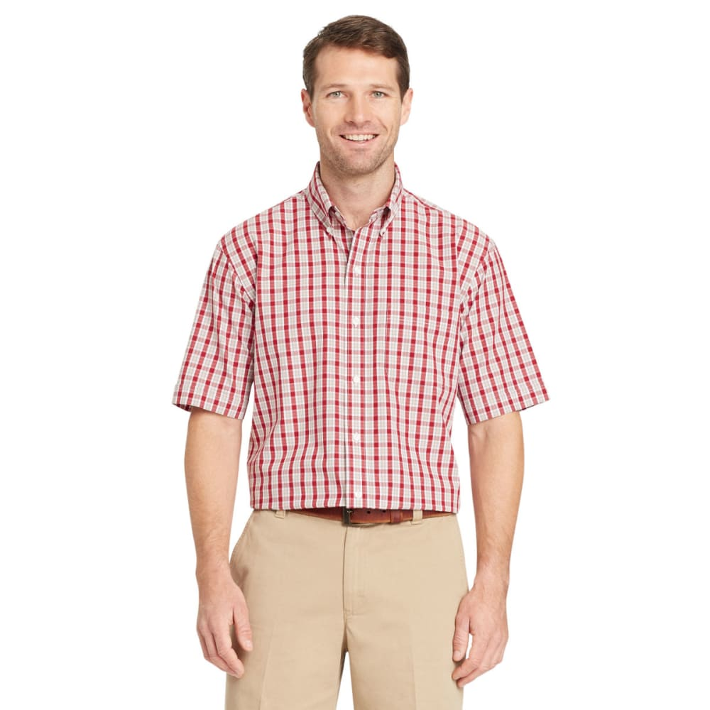 ARROW Men's Hamilton Plaid Short-Sleeve Shirt - RHUBARB