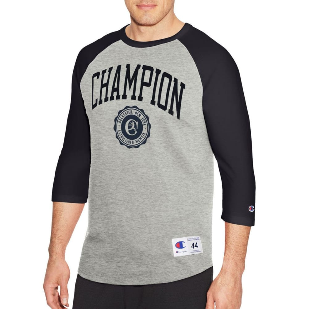 Champion Men's Heritage Baseball Slub  3/4-Sleeve Tee - Black, M