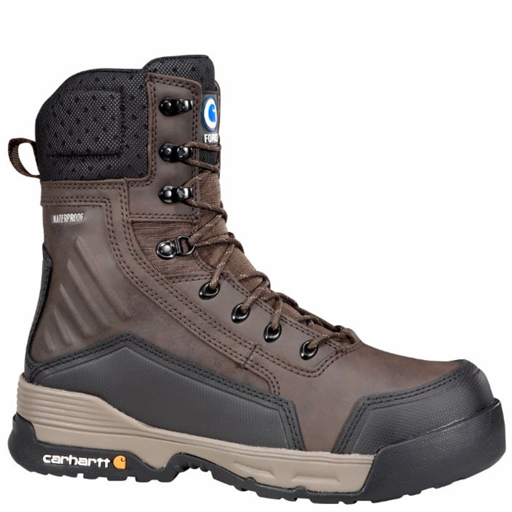 CARHARTT Men's 8-Inch Force Work Boots With Zipper, Dark Brown - BROWN COATED LTHR