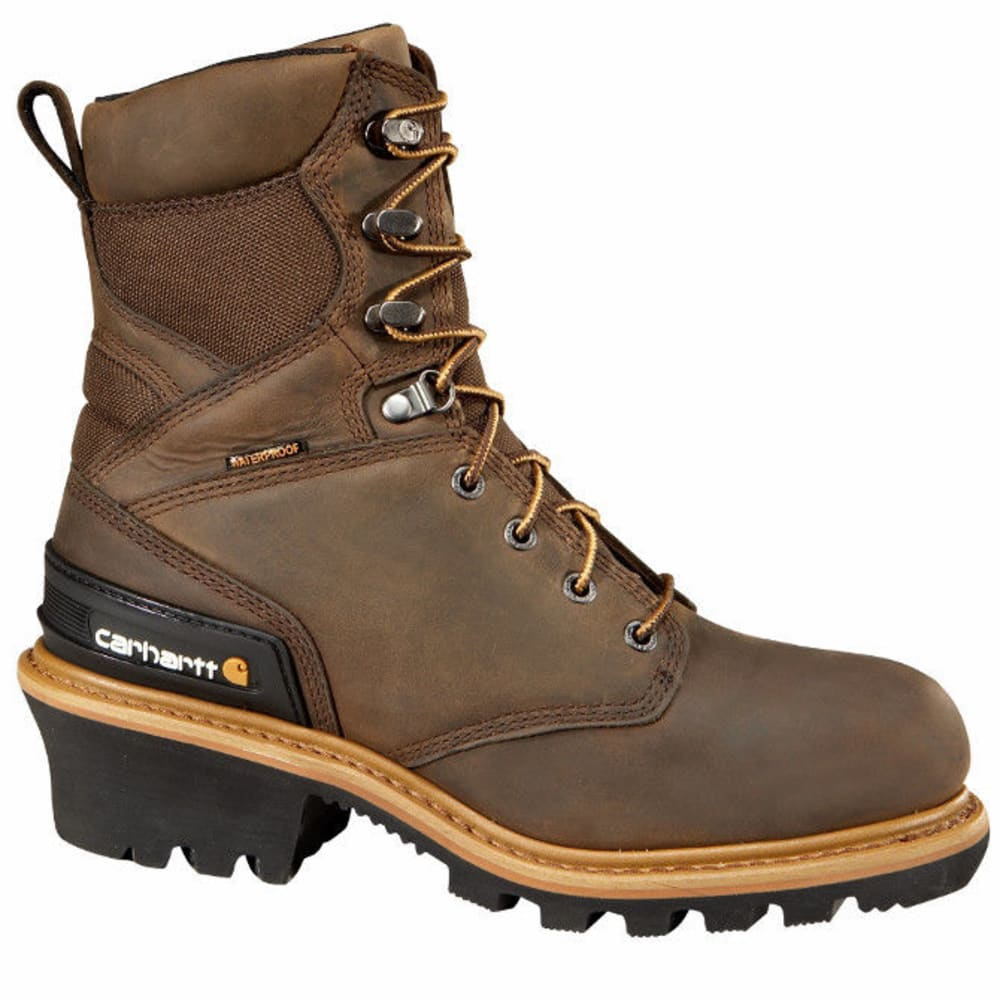 CARHARTT Men's Waterproof Insulated Logger Composite Toe Boots, Crazy Horse Brown 8