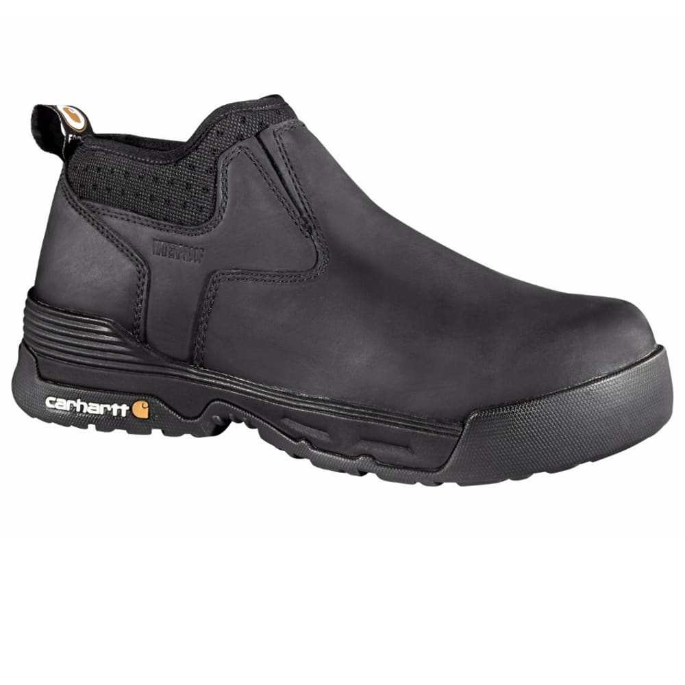 CARHARTT Men's 4-Inch Force Waterproof Slip On Boots, Black - BLACK COATED LTHR