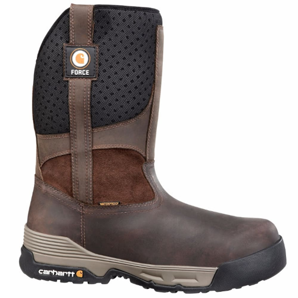 CARHARTT Men's 10-Inch Force Waterproof Pull On Boots, Brown - BROWN COATED LTHR