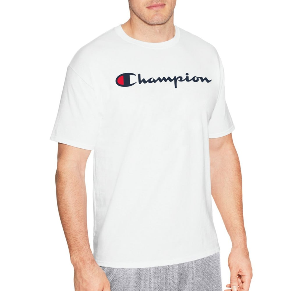 Champion Men's Cotton Script Logo Tee Shirt - White, XXL