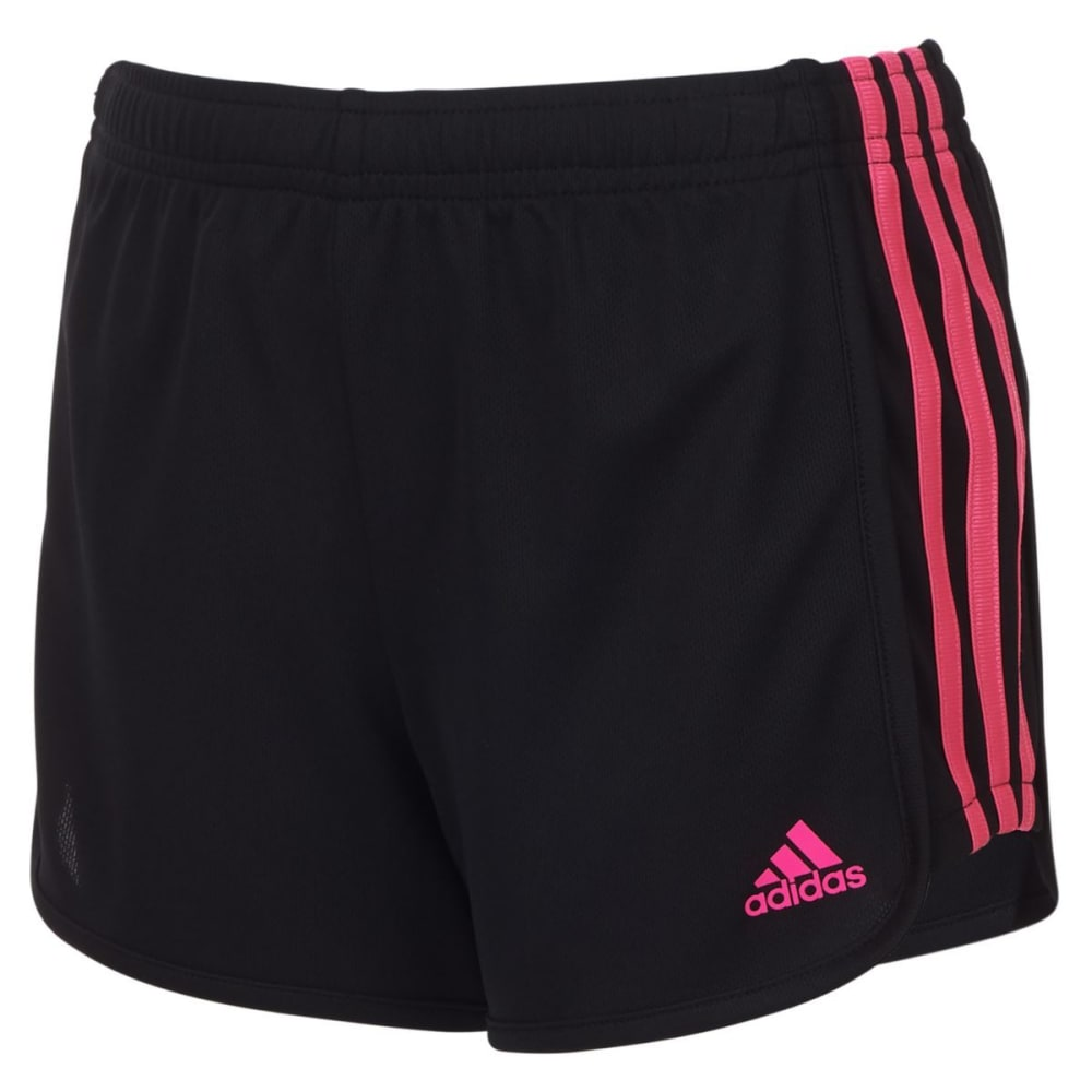 ADIDAS Big Girls' 3-Stripes Mesh Shorts - BLK/SOLARPNK-AK201