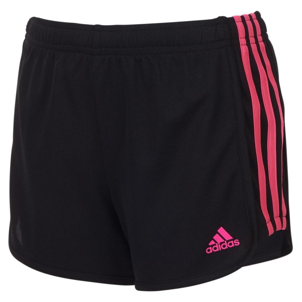 ADIDAS Big Girls' 3-Stripes Mesh Shorts - BLK/SOLARPNK-AK201