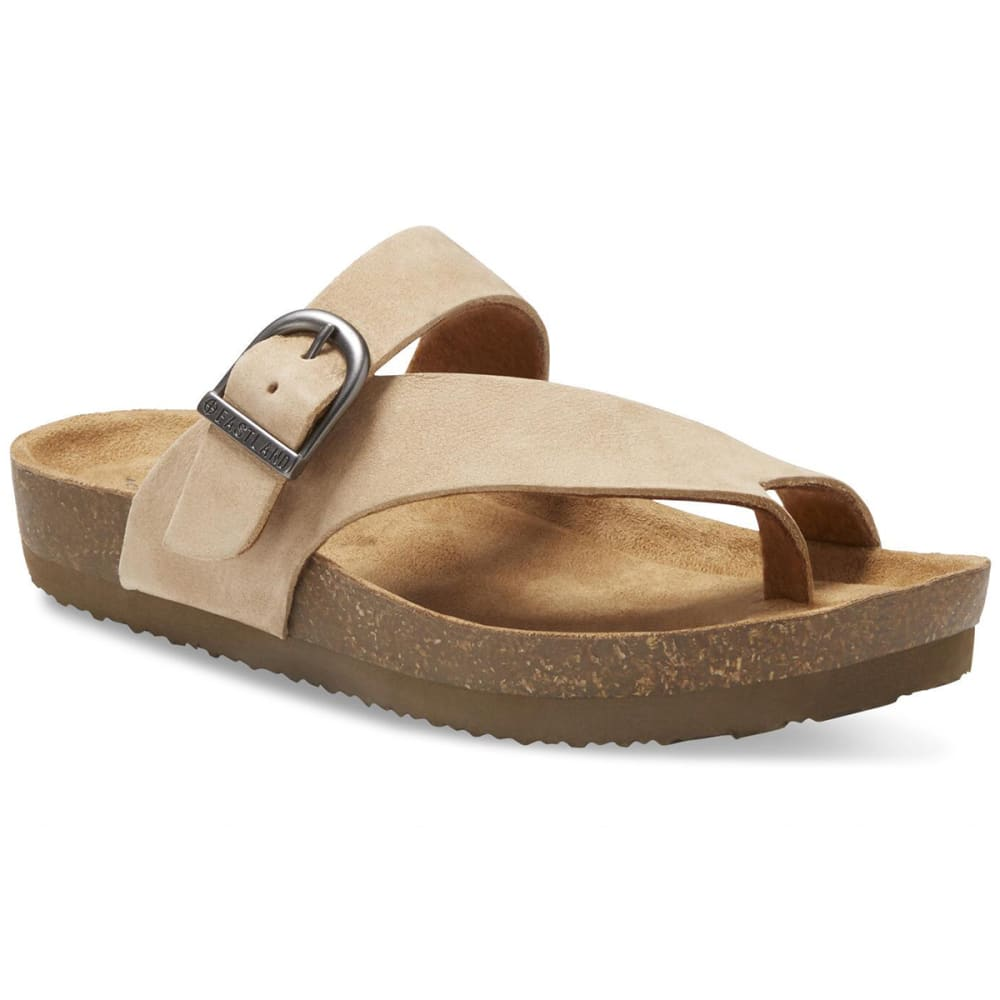 EASTLAND Women's Shauna Adjustable Thong Sandals - SANDSTONE NUBUC-55